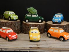 We have these ceramic Mini Cooper planters (by GMFSI on Etsy) on our reception desk!