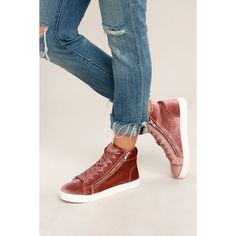 Madden Girl Eppic Blush Velvet High-Top Sneakers ($49) ❤ liked on Polyvore featuring shoes, sneakers, pink, pink high top sneakers, zip shoes, velvet sneakers, pink sneakers and high top shoes