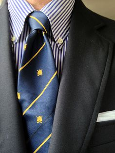 * Brooks Brothers 3/2 blazer, striped broadcloth shirt; Sharps Freeman Ltd. tie for the Beehive Golf Society of Ilford, U.K.; unbranded cotton pocket square