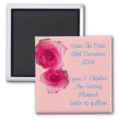 Beautiful Pink Roses Save The Date   Such beautiful pink roses on a pale pink background with contrasting teal blue text, very pretty your guests are bound to be impressed with these save the date magnets.