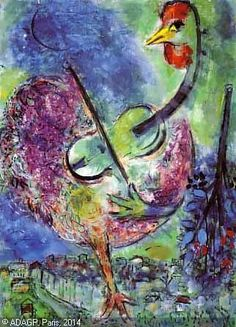Chagall: The Rooster Musician Marc Chagall, Artist Chagall, Chagall Paintings, Renoir, Monet, Jewish Art, Naive Art, French Artists, Art Forms