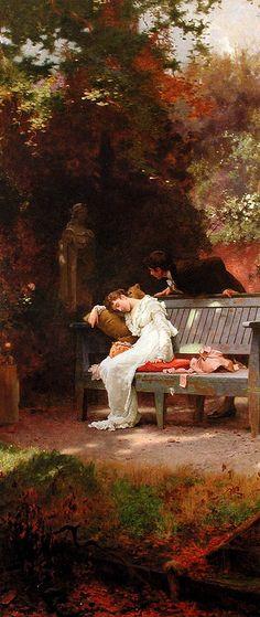 "Marcus Stone "" A stolen kiss"" (1840 - 1921)"