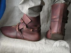 Medieval Leather Mens Shoes With Brass Accents Short Boots