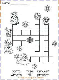 free print out crossword for kids.Christmas … free print out crossword for kids.Christmas puzzle and vocabulary activity. word search puzzle features hidden Christmas words to find and a picture of Santa Claus to color – Christmas Crossword Puzzles, Christmas Puzzle, Christmas Worksheets, Christmas Activities For Kids, Christmas Words, Free Christmas Printables, Kids Christmas, Christmas Runner, Xmas