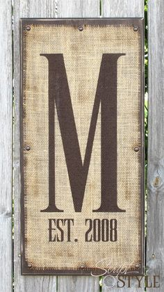 Personalized Monogram Sign on Burlap - Script and Style
