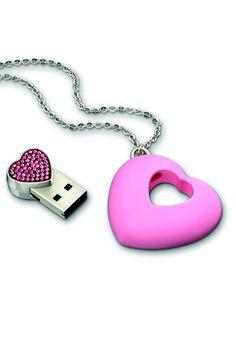 Chiavetta USB tempestata di strass che diventa un ciondolo a forma di cuore, Swarovski