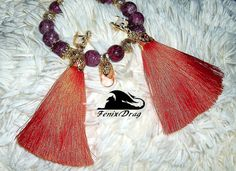 Orange long tassels earrings and a bracelet of purple sugar quartz designer jewelry handmade