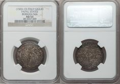 Papal States. Julius II AR Giulio ND (1503-13) AU53 NGC, Berman-566. Sts. Peter and Paul facing on obverse. Reverse has tiara and crossed keys over della Rovere arms