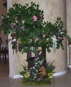 "4'8"" Enchanted Tree with Flowers and Ficus Leaves, Olive Luxury Fur and a Fairy Door"