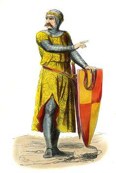 """Aubrey de Vere - male costume of 13th century"""