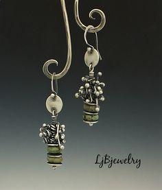 Silver Earrings, Turquoise Earrings, Dangle Earrings, Drop Earrings, Sterling Silver, Turquoise, Metalsmith, Handmade by LjBjewelry on Etsy