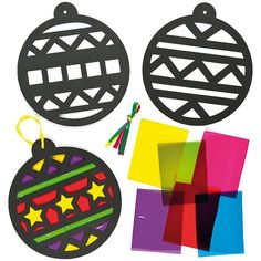 Shop the exclusive range of stained glass crafts at Baker Ross. Stained glass craft kits, craft activities and much more. Preschool Christmas, Toddler Christmas, Christmas Activities, Christmas Crafts For Kids, Christmas Baubles, Kids Christmas, Holiday Crafts, Papier Kind, Stained Glass Crafts