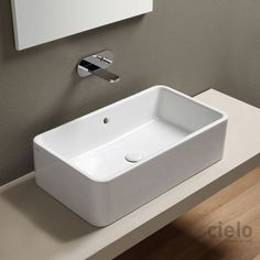 Lavabo de apoyo rectangular 60 color Brina Shui - Lavabo color de baño Ceramica Cielo