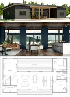 Ideas Container House Layout Floor Plans Tiny Homes for Small House, New Home, House Plans Casas Containers, Tiny House Plans, Small Modern House Plans, One Floor House Plans, Simple Floor Plans, Simple Home Plans, Open Concept House Plans, Modern Floor Plans, Cottage Floor Plans