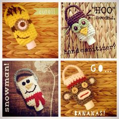 Cutest minion, owl, snowman, and sock monkey hand sanitizers! No pattern. Crochet Cup Cozy, Cute Crochet, Crochet Crafts, Yarn Crafts, Easy Crochet, Crochet Projects, Quick Crochet Patterns, Crochet Patterns Amigurumi, Knitting Patterns