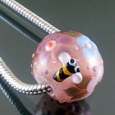 PIKALDA=handmade lampwork 1 glass charm bead big hole flower=BEE ATTRACTION=SRA