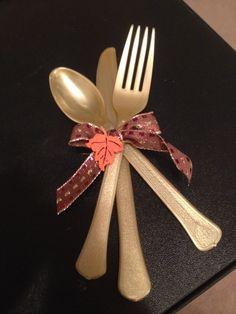 Thanksgiving table setting Plastic ware
