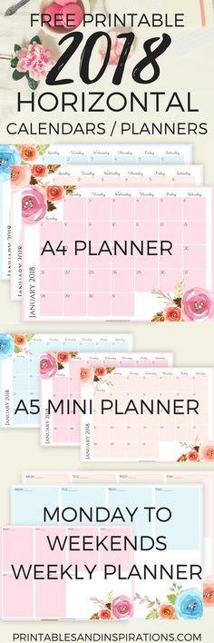 2018 calendar, free printables planner, 2018 horizontal calendar, monthly planner printables, monthly spread, Monday to Sunday weekly planner, floral design