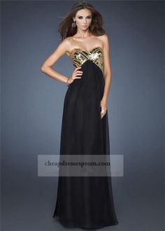 Black Gold Long Strapless Sequin Prom Dress 2014