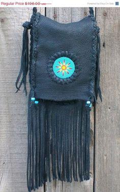 Black fringed handbag Black leather handbag with a by thunderrose