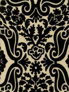 Interior Place - Black Cream CKB66346 Country Damask Wallpaper ...