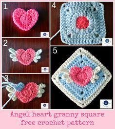 crochet angel heart granny square, crochet winged heart granny square, crochet heart granny square free pattern