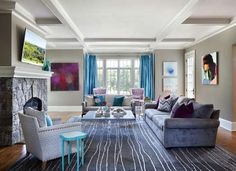 Gray and electric blue living room - unexpected color makes this space exciting