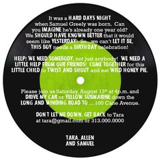 Beatles theme party food ideas let it be lt bites judes 1st invitation uses beatles song lyrics to specify party details i already have started adapting it stopboris Choice Image