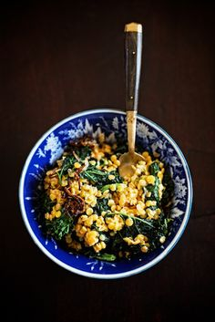 Red lentils and kale with coconut, ginger, and crispy shallots