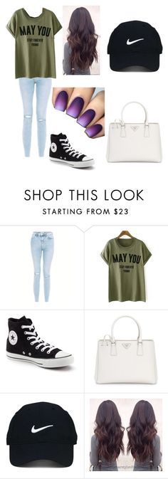 """First from each category + 1st from hair #4"" by victoria5071 ❤ liked on Polyvore featuring Converse, Prada and Nike Golf"