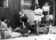 Theresienstadt. Women and girls in a ghetto yard.