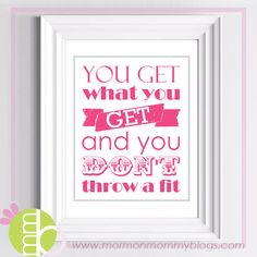 Don't Throw a Fit Free Printable | Mormon Mommy Printables - This site has LOTS of great LDS prints.