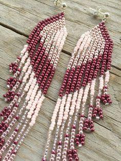 Beaded Earrings Seed Bead Earrings Medium Long Fringe