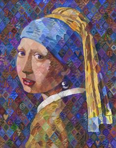 "Girl with a Pearl Earring - art by Huiskens, after Vermeer, on Ebay;  ""This is not a print or reproduction, it is an original, hand-painted acrylic painting. It should in no way be confused with an actual work of art by Vermeer. This work of art is acrylic paint on archival quality stretched canvas.""  22"" x 28"""