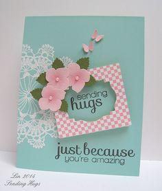 CASE Study #180 by Lin - Sending Hugs frame & flowers card