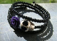 Day of the Dead Bracelet Wrap Around Mini purple rose cream white skull Black glass E Beads Frida Memory wire 3 loops