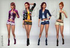 Sims 4. Set jacket, shorts and boots. - PqSim4