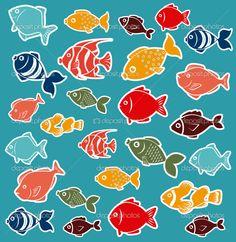 Fish design over blue background, vector illustration Sea Art, Fish Design, Fish Art, Menu Design, Free Vector Art, Blue Backgrounds, Illustrators, Graphic Design, Royalty