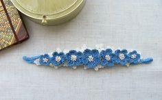 Elastic Headband, Floral Headband, Blue Flower Headband, Photo Props, Crochet headband, Elastic Crochet,