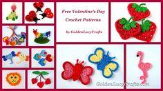 Free Valentine's Day Crochet Appliqué Patterns. using hearts