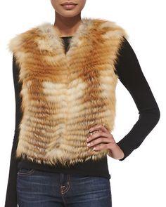 Let Out Fox Fur Vest by Adrienne Landau at Neiman Marcus.