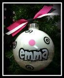 Monogrammed Ornaments, Polka Dot Ornaments, Christmas Ornaments