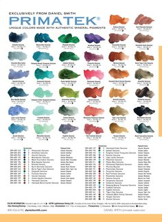 Daniel Smith Primatek Watercolor Chart - rare earth/mineral colors, genuine! Amazing colors! danielsmith.com or dickblick.com