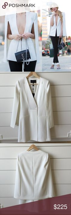BCBG Ottis Cape Dress NWT BCBG white cape dress/blazer. IN STORES NOW...just saw it on the rack at the Madison Ave store in NYC Sep 2016...such a hot style! Pair with a dress, skirt, pants or be bold and wear it alone for a modern and sophisticated look. Over-the-hip length. A few small spots (makeup, etc) from being tried on in store but nothing dry cleaning cant remove. I'm pregnant now and it wont fit! Brand new, with tags. WILL NOT accept low ball offers!! Its already $100 off current…
