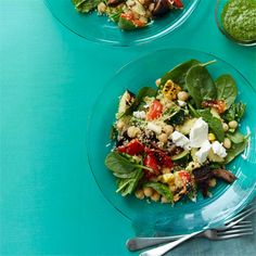 Grilled summer vegetables, couscous, and a fresh green pesto come together to create a healthy, well-rounded meal. Get the recipe.  - WomansDay.com