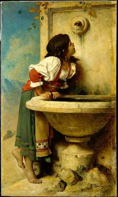 Léon Bonnat, Roman Girl at a Fountain, 1875 From the Metropolitan Museum of Art:  This picture is one of the last genre scenes that Bonnat produced before he turned exclusively to portraiture. He probably agreed to paint the work for Catharine Lorillard Wolfe about 1873. Two years later the painting was delivered to Wolfe's Madison Avenue brownstone, where it hung in the library, along with her three-quarter-length portrait by Cabanel (87.15.82). In October 1885, soon before she died, Wolfe…