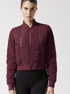Off Duty Bomber 2 Jacket in Black Cherry (red) by Alo Yoga from Easy Rider, Off Duty, Bra Sizes, Winter Coat, Sportswear, Active Wear, Bomber Jacket, Fashion Outfits, Jackets