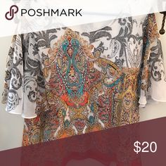 Multi colored blouse Orange and black paisley Chico's Tops Blouses
