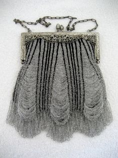 Vintage Knit Beaded Crystal Purse Antique Purses