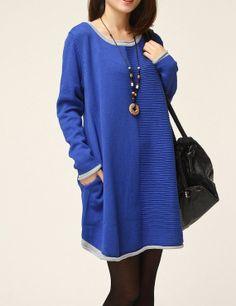 Blue sweater dress knitwear wool dress large loose by Nextchoice, $65.00